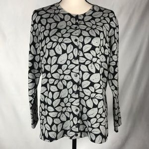 Charter Club Sweater Black w/Grey Leaves Large